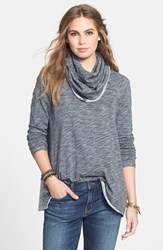 Women's Free People 'Beach Cocoon' Cowl Neck Pullover Charcoal