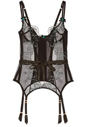 Agent Provocateur Callie Satin Trimmed Embroidered Tulle Basque Black