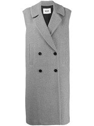 Msgm Double Breasted Sleeveless Coat Grey