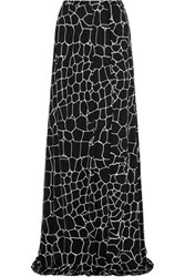 Issa Rigby Printed Silk Blend Jersey Maxi Skirt Black