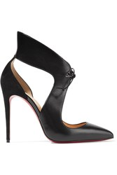 Christian Louboutin Ferme Rouge Cutout Leather And Suede Pumps Black