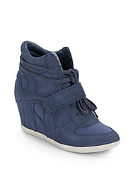 Ash Bowie Leather And Canvas Wedge Sneakers Navy