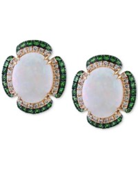 Effy Opal 2 7 8 Ct. T.W. Tsavorite 3 8 Ct. T.W. And Diamond 1 5 Ct. T.W. Stud Earrings In 14K Gold Yellow Gold