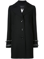 Derek Lam Frayed Cuff Buttoned Jacket Women Silk Wool 42 Black