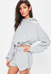 Missguided Grey Lace Up Sleeve Detail Cropped Hoodie