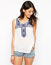 Brave Soul Sleeveless Tank Top With Embroidered Insert Whiteroyal
