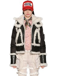 Dsquared Nylon Shearling And Leather Down Jacket