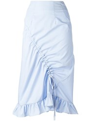 Preen By Thornton Bregazzi Gathered Detail Straight Trousers Blue