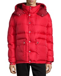 Moncler Brel Puffer Jacket With Removable Hood Red
