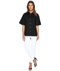Vince Camuto Elbow Sleeve Oversized Button Down Shirt Rich Black Women's Clothing