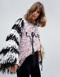 Native Rose Oversized Flecked Jumper With Fringed Sleeves And Love Slogan Multi
