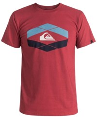 Quiksilver Men's Little Gem Graphic Print Logo T Shirt Garnet