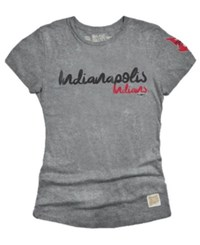 Retro Brand Women's Indianapolis Indians Streaky Tri Blend T Shirt Gray