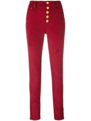 Michael Michael Kors Button Up Slim Trousers Red