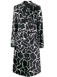Versace Marble Effect Printed Coat Black