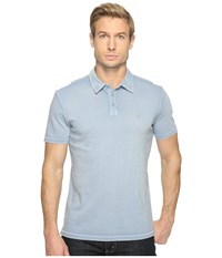 John Varvatos Reverse Print Soft Collar Peace Polo With Peace Sign Chest Embroidery K1381t1b Steel Blue Men's Clothing