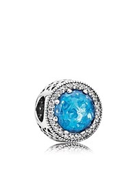 Pandora Design Pandora Charm Sterling Silver Cubic Zirconia And Crystal Sky Blue Radiant Hearts Moments Collection