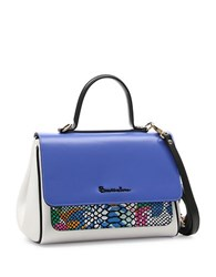 Braccialini Chiara Small Leather Satchel Blue