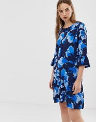 Minimum Floral Dress With Fluted Sleeves Multi