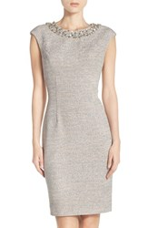 Eliza J Women's Embellished Sparkle Knit Sheath Dress Taupe