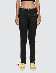 Off White Skinny Fit Jeans With Twisted Scarf Black