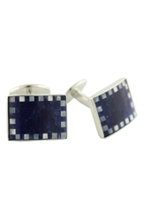 David Donahue Sterling Silver Sodalite And Mother Of Pearl Cuff Links Blue White