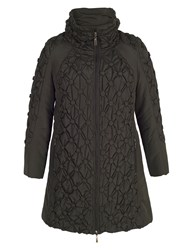 Chesca Quilted Coat With Button Detailing Black