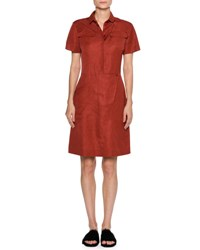 Tomas Maier Short Sleeve A Line Shirtdress Red
