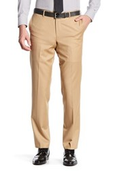 Broletto Wide Leg Flat Front Wool Pant 30 34 Inseam Brown