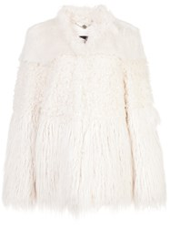 Marc Cain Faux Fur Oversized Coat Nude And Neutrals