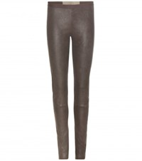 Rick Owens New Simple Leather Leggings Grey