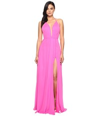Faviana Chiffon V Neck Gown W Full Skirt 7747 Cherry Pink Women's Dress