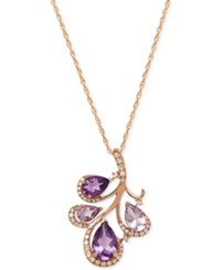 Macy's Amethyst 2 3 4 Ct. T.W. And Diamond 1 6 Ct. T.W. Pendant Necklace In 14K Rose Gold