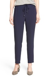Women's Eileen Fisher Silk Crepe Drawstring Waist Ankle Pants Midnight