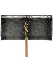 Saint Laurent 'Classic Monogram' Tassel Clutch Black