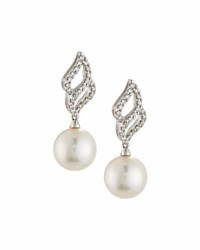Belpearl 18K 9.5Mm Akoya Pearl And Diamond Dangle Earrings
