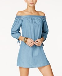 Speechless Juniors' Off The Shoulder Chambray Dress Denim
