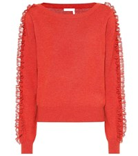 See By Chloe Cotton And Silk Blend Sweater Orange