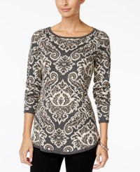 Charter Club Paisley Print Boat Neck Sweater Only At Macy's Charcoal Heather Combo