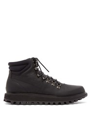 Dolce And Gabbana Padded Matte Leather Hiking Boots Black