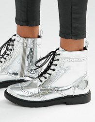 London Rebel Brogue Lace Up Ankle Boots Silver Red