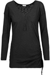 Splendid Henley Ruched Supima Cotton And Modal Blend Top Black