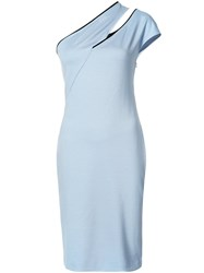 Thierry Mugler Cut Out One Shoulder Dress Women Spandex Elastane Viscose 38 Blue