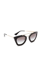Prada Thick Frame Sunglasses Black Black
