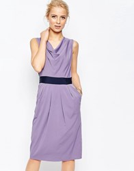 Closet London Blu Cowl Neck Pencil Dress Lilac Purple