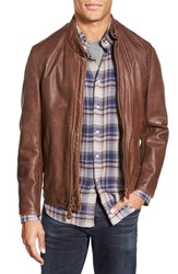 Men's Schott Nyc '654' Cafe Racer Leather Jacket Brown