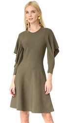 Opening Ceremony Flounce Sleeve Dress Army Green