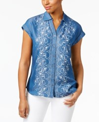 Style And Co Short Sleeve Denim Shirt Only At Macy's Floral Parade
