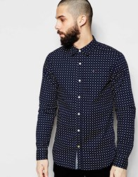 Tommy Hilfiger Hilfiger Denim Shirt With Spot Print With Stretch In Slim Fit Navy