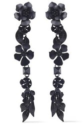 Valentino Enameled Silver Tone Earrings Black